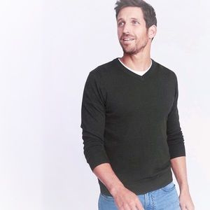 Old Navy Men's V-Neck Sweater Charcoal Grey Small